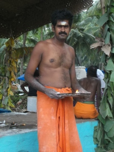The priest waiting for next Pooja